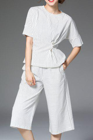 Affordable Striped Twist T-Shirt and Capri Wide Leg Pants Twinset