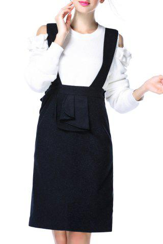 Sale Pure Color Suspender Skirt