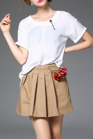 Buy Solid Color T-Shirt and Flower Pleated Skirt Twinset