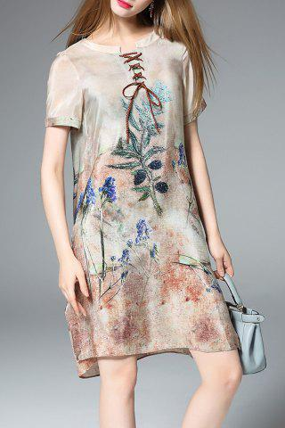 Trendy Printed Lace-Up Silk Dress