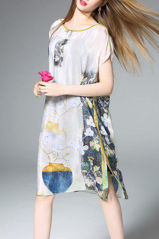 Fancy Slash Neck Floral Print Silk Straight Dress