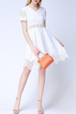 New Solid Color Lace Spliced Cut Out Dress