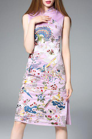 Buy Side Slit Reformed Qipao Dress in Purple