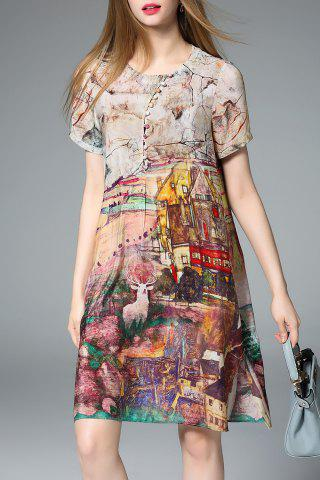 Sale Loose Fit Hand-Painted Silk Dress
