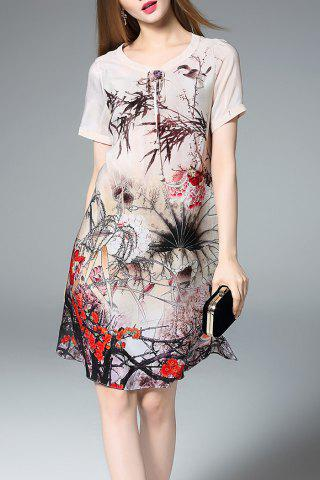 Buy Short Sleeve Ink Painting Silk Dress