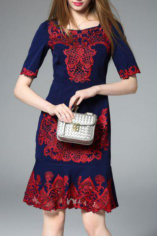 Fashion Square Neck Embroidered Mermaid Dress