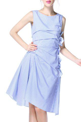 Discount Striped Ruched Dress
