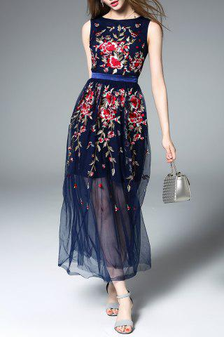 Buy Embroidered Floral Tulle Dress in Blue