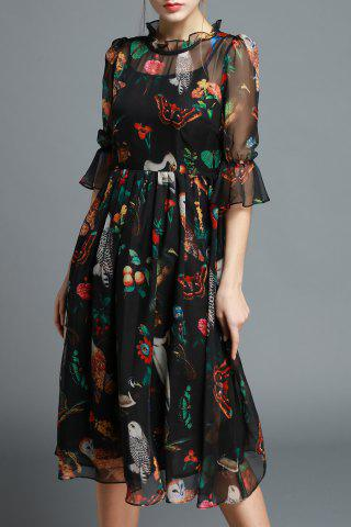 Shops Ruffled Owl Print Silk Dress