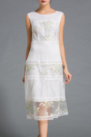 Buy Lace Spliced Embroidery Dress