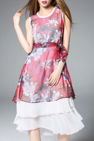 Affordable Layered Chiffon Dress With Belt