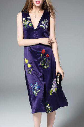 Affordable Sleeveless Deep V Neck Embroidered Dress