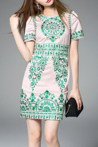 Online Vintage Embroidered Sheath Dress in Pink