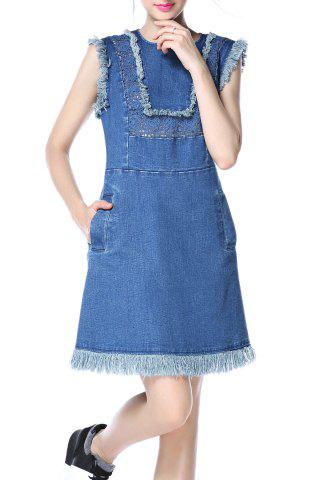 New Denim Fringed Dress