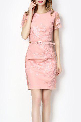 Shop Sheer Sleeve Embroidered Dress With Belt
