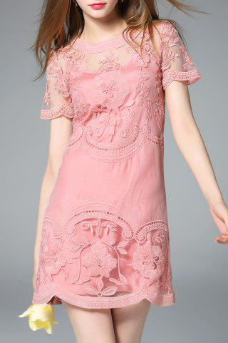 Chic Sheer Shoulder Two Piece Dress in Pink