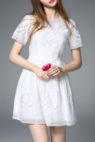 Buy Round Neck Embroidered White Mini Dress