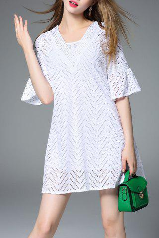 Sale Flutter Sleeve Chevron Cutwork White Dress