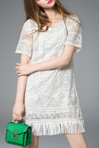 New Fringed Two-Piece Dress in White