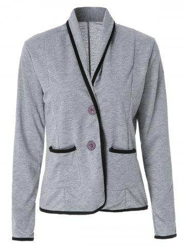 Trendy Graceful Shawl Collar Color Block Long Sleeve Blazer For Women