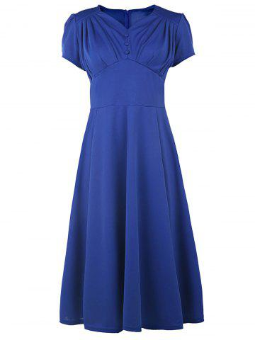 Discount V Neck Short Sleeve Ruched Prom Dress BLUE M