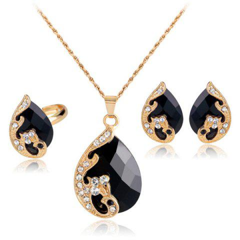 Discount A Suit of Retro Rhinestone Faux Crystal Peacock Necklace Ring and Earrings