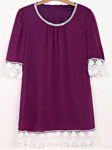Robe de Sweet Scoop Neck Half manches Dentelle Splicing femmes Bordeaux 2XL