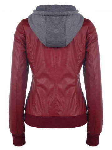 Best Faux Twinset PU Leather Double Zipper Hooded Jacket - S WINE RED Mobile