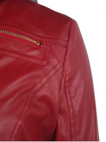 Cheap Faux Twinset PU Leather Double Zipper Hooded Jacket - S WINE RED Mobile