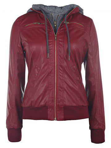 New Faux Twinset PU Leather Double Zipper Hooded Jacket - S WINE RED Mobile