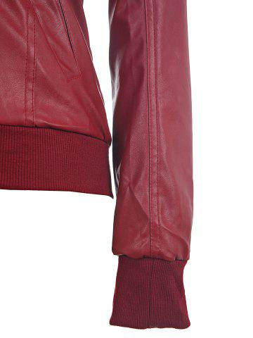 Discount Faux Twinset PU Leather Double Zipper Hooded Jacket - L WINE RED Mobile