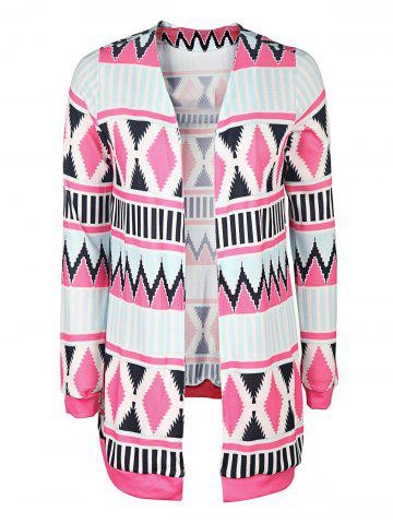 Affordable Trendy Collarless Long Sleeve Geometric Print Women's Cardigan