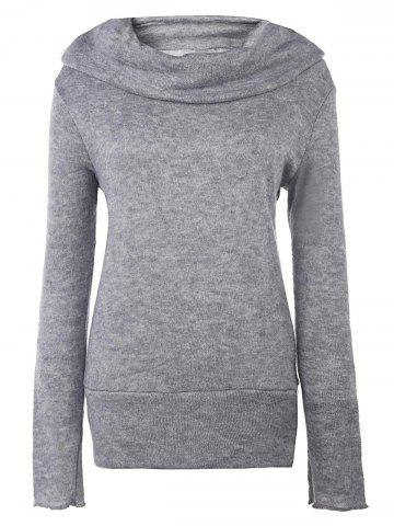 Online Casual Style Heaps Collar Long Sleeve Pure Color Women's Jumper DEEP GRAY L
