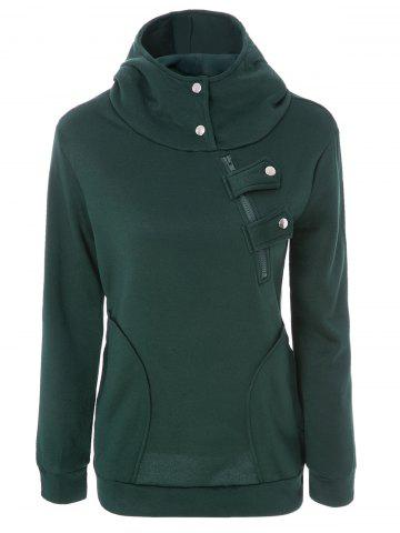 Online Long Sleeve Pockets Inclined Zipper Pullover Hoodie GREEN L