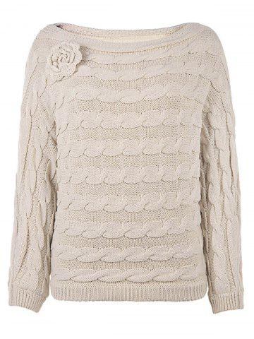 Slash Neck Cable Knit Jumper Sweater - Off-white - One Size