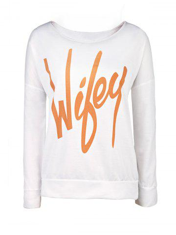 Shop Sexy Letter Printed Slash Neck Pullover Sweatshirt For Women