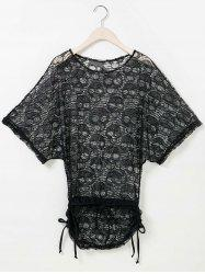 Fashionable Scoop Neck Short Sleeve Openwork Bikini Cover For Women