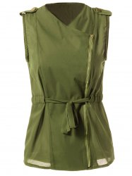 Stylish Turn-Down Collar Solid Color Chiffon Waistcoat For Women - ARMY GREEN