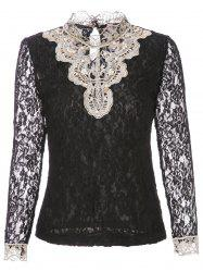 Beaded Lace Long Sleeve Top