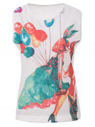 Fashionable Scoop Collar Balloon Girl Print Chiffon Women's Tank Top -