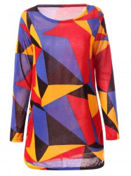 Casual Long Sleeve Round Neck Geometric Print Women's T-Shirt