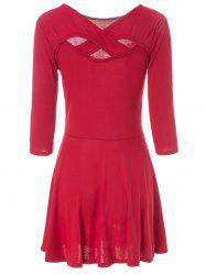 Simple V-Neck 3/4 Sleeve Solid Color Hollow Out Criss-Cross Women's Dress -