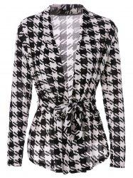 Stylish Collarless Long Sleeve Plaid Special Cut Lace-Up Women's Coat -