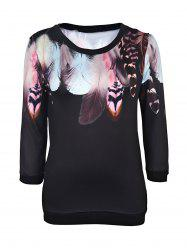 Trendy Round Neck Long Sleeve Feather Print Women's Sweatshirt - BLACK