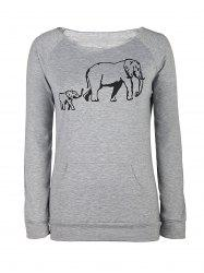 Chic Women's Elephant Pattern Long Sleeve Sweatshirt