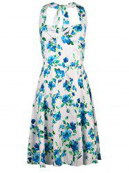 Sweet Halter Floral Printed Sleeveless High Waist Ball Gown Dress For Women