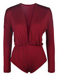 Casaul Plunging Collar Long Sleeve Solid Color Women's Romper
