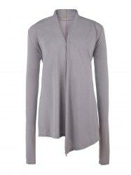 Stylish Women's Asymmetrical Pure Color Sequined Long Sleeve Cardigan - GRAY