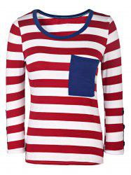 Casual Style Scoop Neck 3/4 Sleeve Striped Buttoned Women's T-Shirt