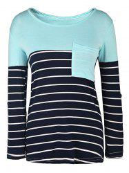 Casual Style Scoop Neck 3/4 Sleeve Stripe Splicing Women's T-Shirt